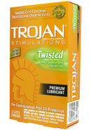 Trojan Condom Stimulations Twisted Lubricated 12 Pack