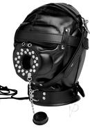 Strict Sensory Deprivation Hood With Open Mouth Gag Black