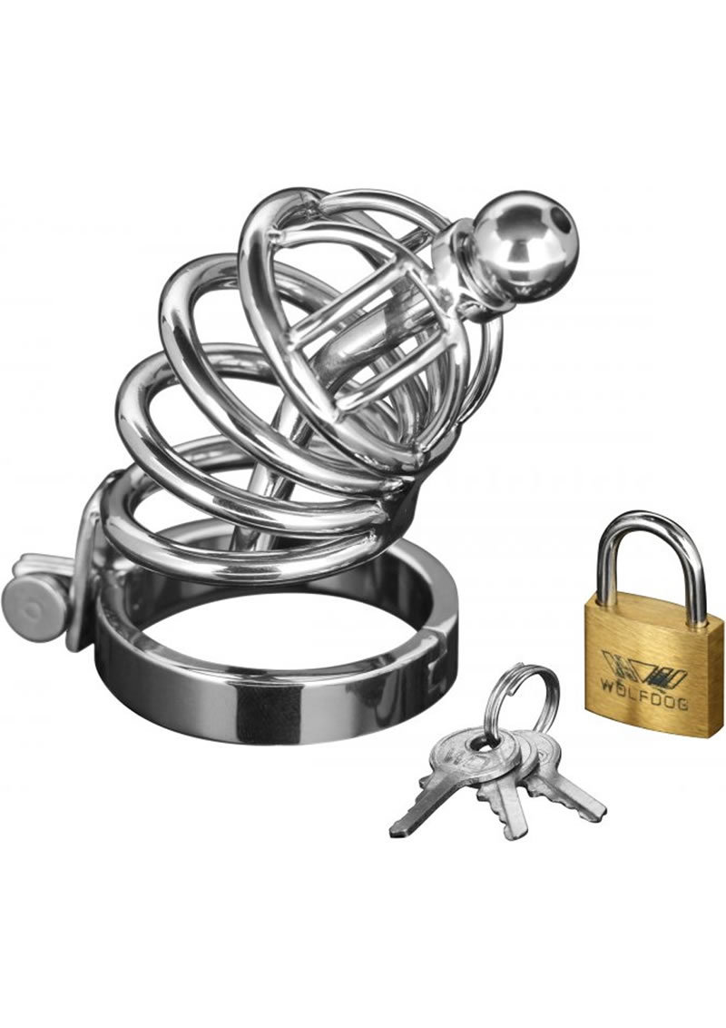Master Series Asylum 4 Ring Locking Chastity Cage Stainless Steal