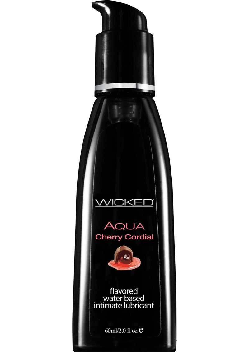 Wicked Aqua Water Based Flavored Lubricant Cherry Cordial 2 Ounce